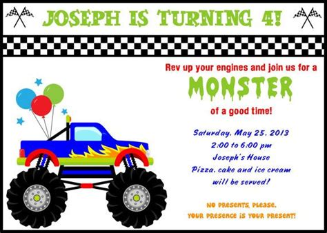 printable monster jam birthday cards free printable monster truck birthday invitations drevio