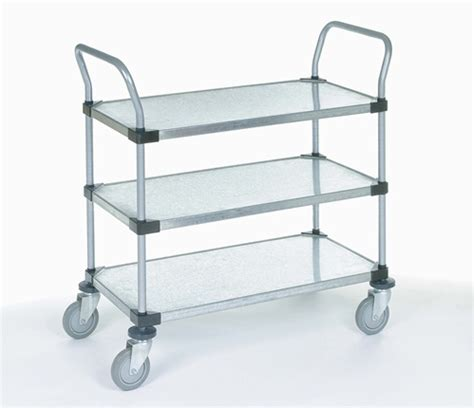 galvanized steel three shelf utility cart nexel