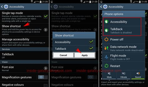 what is talkback on android samsung galaxy s4 how to show accessibility or talkback shortcut in the device options in