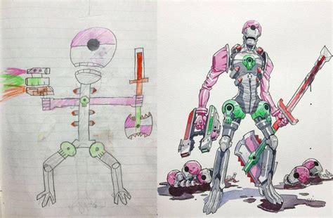 Karpet Karakter Gambar Robot pria ini bikin puluhan karakter anime dari gambar