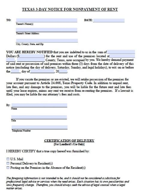 printable eviction notice texas printable sle 3 day eviction notice form real estate