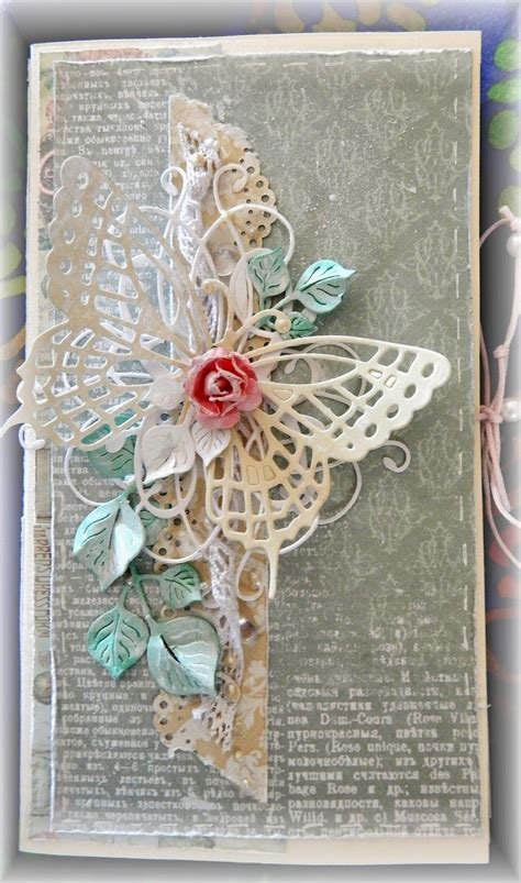 handmade card shabby chic collage ontage lace