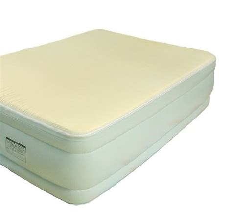 luxe size raised air bed mattress wmemory foam topper in sky blue cheap weather