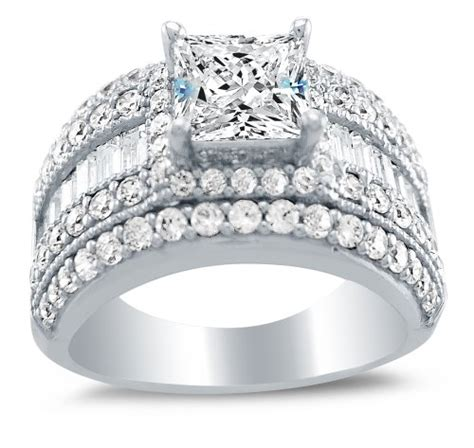 solid 14k white gold large wide princess cut solitaire