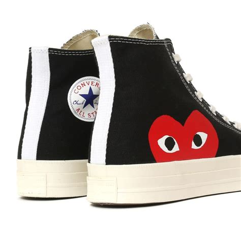 Converse Ct Ii 70s Hi Cdg Play 100 Bnib Quality Black White comme des garcons play x converse chuck all 70 high black shoes