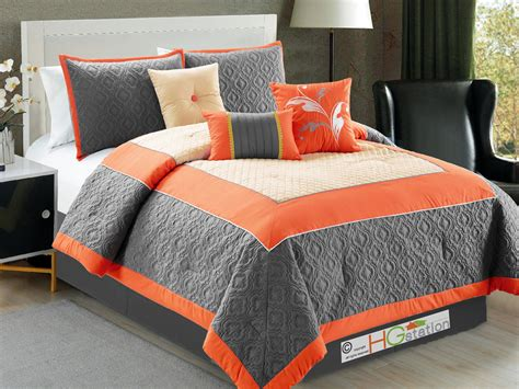 gray and orange comforter set 7 pc trellis floral flocking clover comforter set orange
