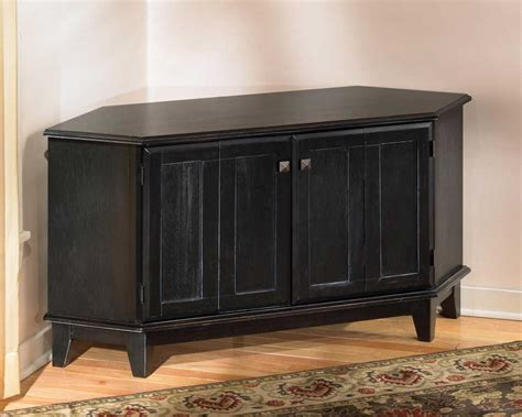 Pine Tv Cabinets With Doors Black Stained Pine Wood Corner Cabinet Tv Stand With Door Panel And Ogee Profile Top