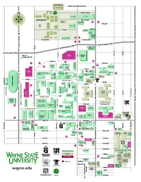 Wayne State University Campus Map by Wayne State University Map Wayne State University Mappery