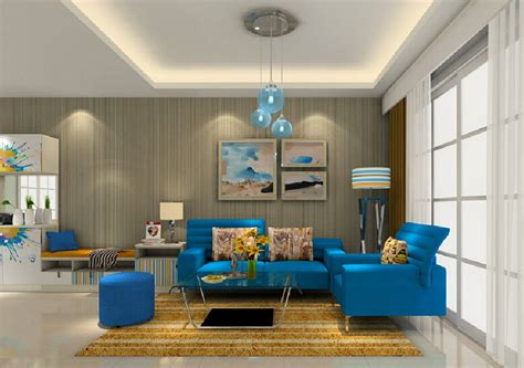 3d interior living room in seoul with blue sofa