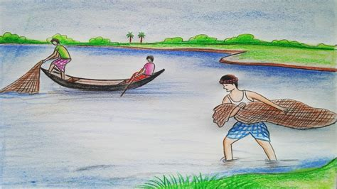 how to draw a scenery boat in river how to draw scenery of fishing step by step youtube