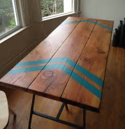How To Make A Tabletop From Reclaimed Wood by Kimi S Douglas Fir Kitchen Table With 3 Rod Hairpin Legs