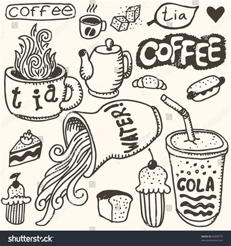 doodle coffee doodle set food coffee stock vector illustration