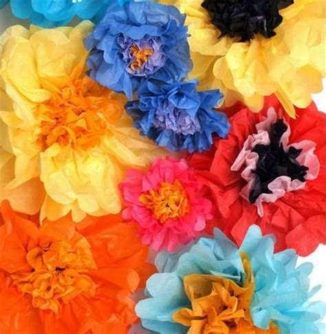 How To Make Colored Paper Flowers - multi colored tissue paper flowers allfreepapercrafts