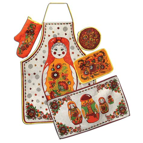 Matryoshka Collection Set matryoshka nesting doll 5 kitchen textile set