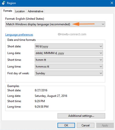 match com help section how to customize date and time formats on windows 10