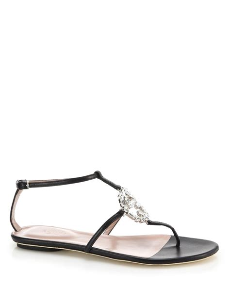 Sandal Slop Gucci Tagbox Gucci gucci gg sparkling leather logo sandals in black lyst