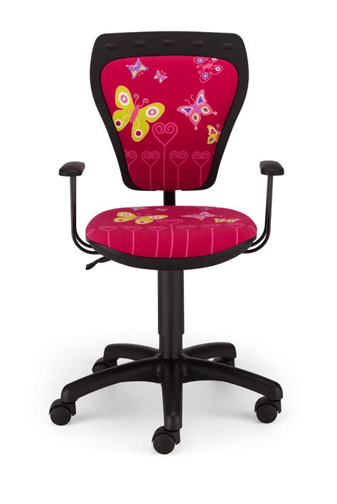 Childrens Cartoon Butterfly Girl Pink Kids Computer Desk Bedroom Swivel Chairs