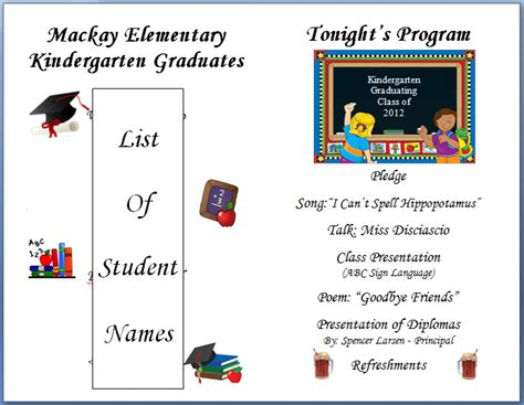 Preschool Graduation Program Template keeping focused kindergarten graduation 2012