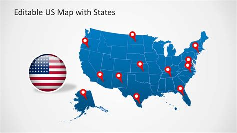 Us Map Template For Powerpoint With Editable States Editable Powerpoint Templates