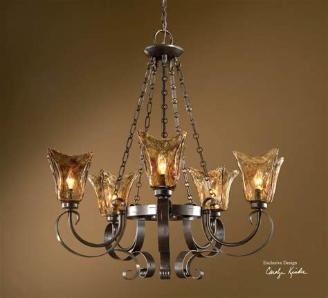 Uttermost Chandeliers Clearance uttermost 5 light single tier chandelier with handmade glass shades rubbed bronze 21007 from