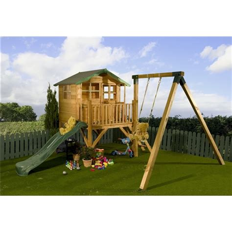 playhouse with swing and slide plans shedswarehouse com bumble bee playhouses poppy tower