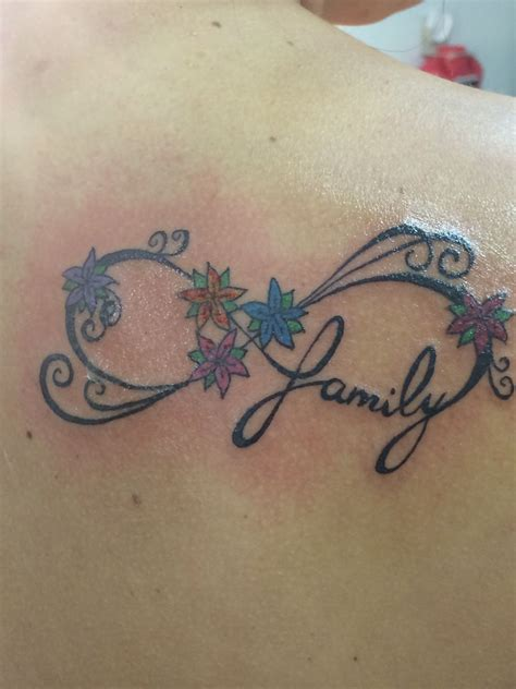 tattoo designs that represent family family infinity each flower represents one of my