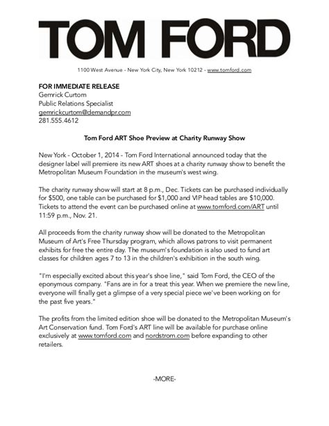 fashion press release template tom ford media kit