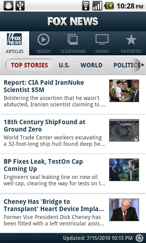 news apps for android fox news arrives on the android market android app