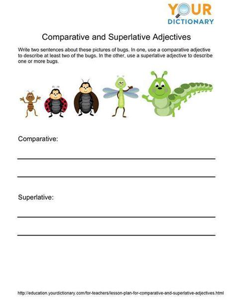 lesson plan for comparative and superlative adjectives