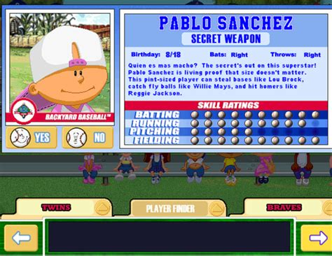 backyard baseball pablo sanchez pablo sanchez perfect game through 7 blowout cards forums