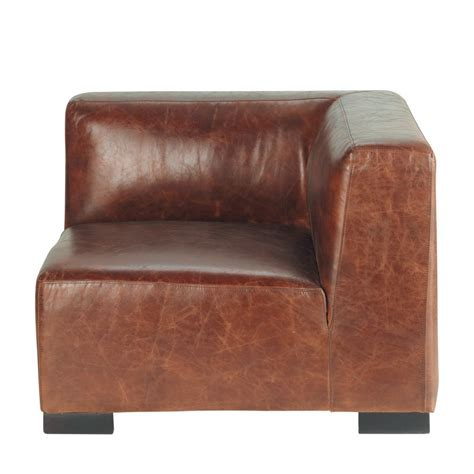 Leather Sofa Corner Units Leather Sofa Corner Unit In Brown Maisons Du Monde
