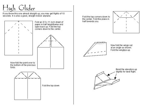 Directions To Make Paper Airplanes - paper airplane quot high glider quot http www