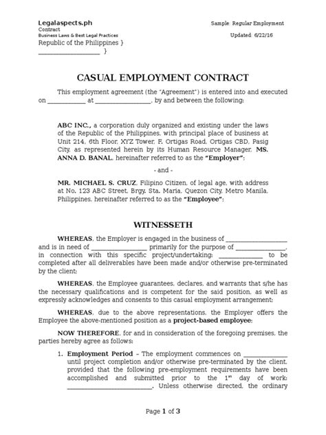 Letter Of Agreement Sle Philippines Sle Project Based Employment Contract Legalaspects Ph United States Labor Working