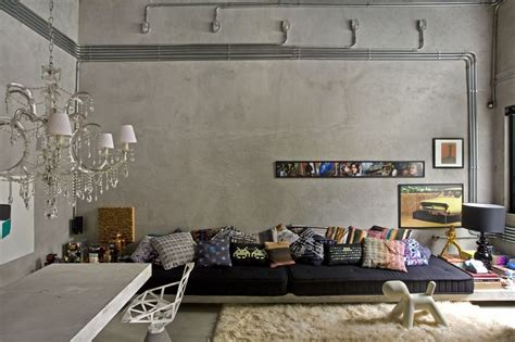 studio apartment living room in brutalist style apartments i like blog