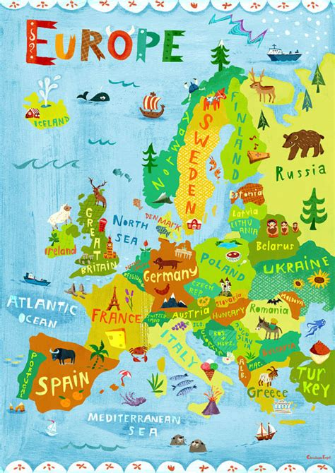 europe map illustration digital print poster by