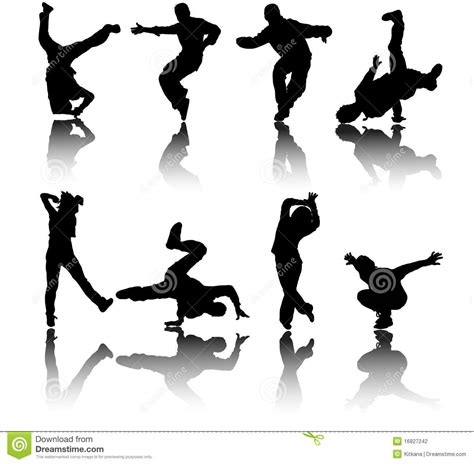 Karpet Breakdance silhouette dancers vector stock vector