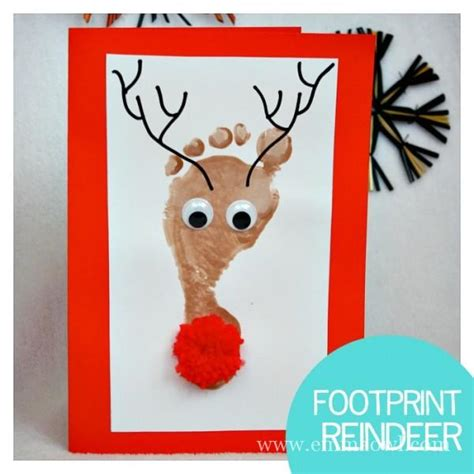 yoddler rudolph crafts reindeer footprint cards all you need is a shiny nose owl