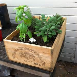 Herb Garden In Planter Boxes by Wine Crate Herb Garden Gardens