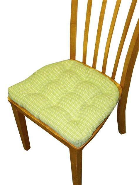 Dining Chair Cushions With Ties Dining Chair Pad With Ties 9 Tack Tufted In Britt Green Bluepesto Plaid Reversible Chair
