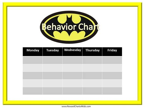 batman printable reward charts batman behavior charts