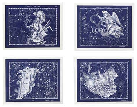 celestial wall set of 4 traditional artwork