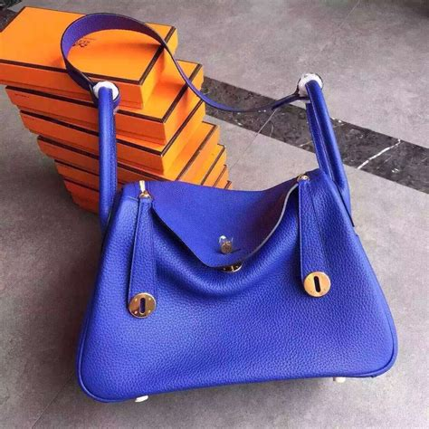 Lindy Togo 25cm hermes lindy 30cm handbag electric blue gold 259 00 replica