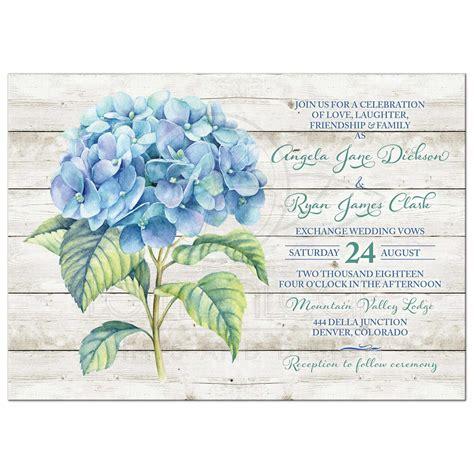 hydrangea wedding invitation blue hydrangea wedding invitation blue green floral watercolor