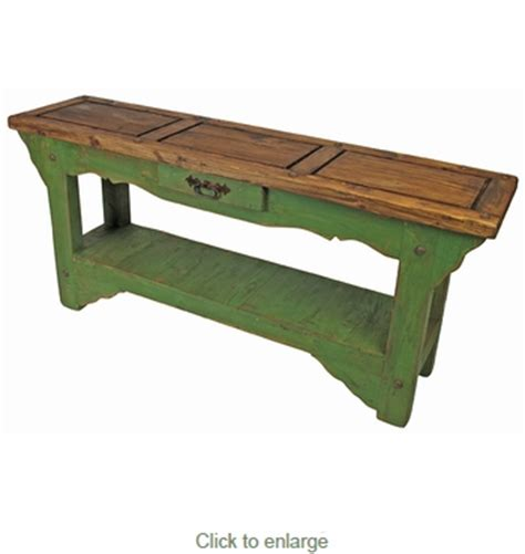 Rustic Painted Wood Sofa Table Green With Natural Top Green Sofa Table
