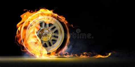 car wheel  fire stock illustration image  road detail