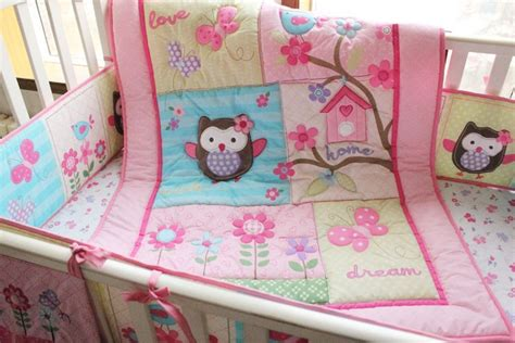 Soft Pink Crib Bedding 2015 Soft Pink Bird Flower Owls Baby Bedding Sets Crib Bedding Sets 100 Cotton Quilt Bed Around