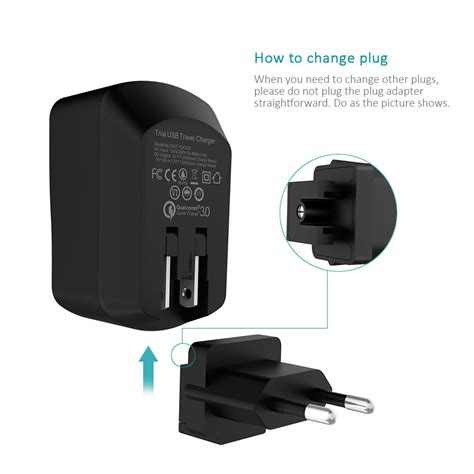 Smart Usb 8in1 Qualcom Qiuck Charger 3 0 With Lcd Display arealer qualcomm certified charge 3 0 smart usb wall charger travel adapter for samsung