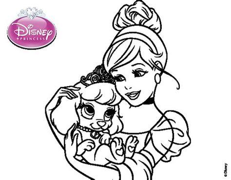 princesas de disney para colorear dibujo de la cenicienta cenicienta y su perrito para