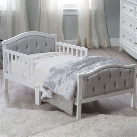 todler beds modern toddler bed white gray girl tufted bedroom crib
