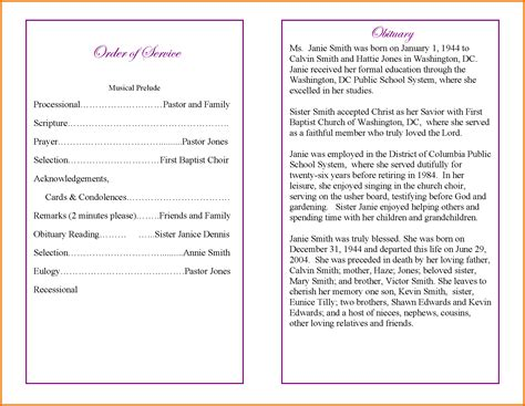 Free Printable Funeral Program Template Free Printable Funeral Program Templates Google Docs Funeral Program Template Docs